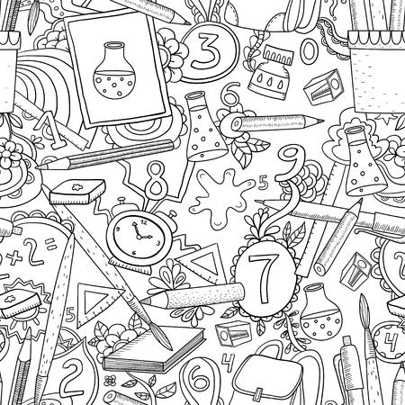 Cartoon vector doodles hand drawn school seamless pattern. Sketch backround