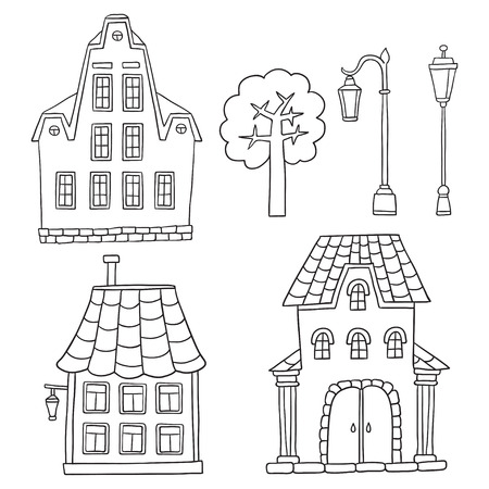 Set with different houses. Vector sketches houses and other arch Illustration