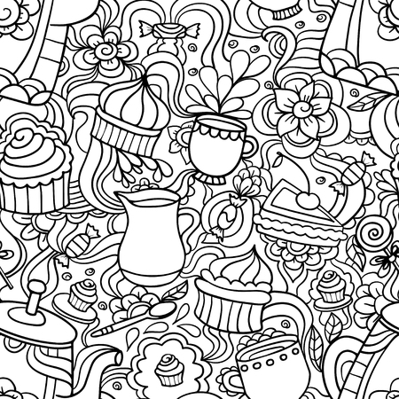 Doodle seamless pattern about coffee or tea time - coffee, tea,