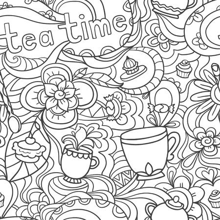 Doodle seamless pattern about coffee, tea time - coffee, tea, cupcake