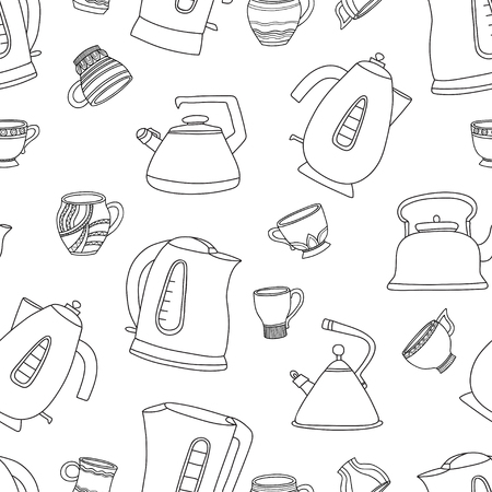 Vector seamless pattern with cups of tea and teapots. Illustration