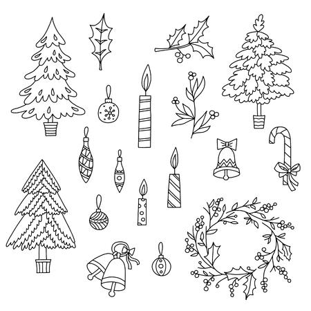 Christmas decoration set with graphic elements. Illustration