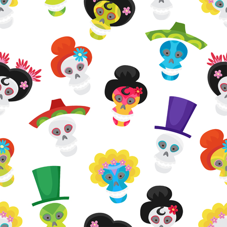 Seamless pattern with colorful skulls for day of the dead. Ilustração