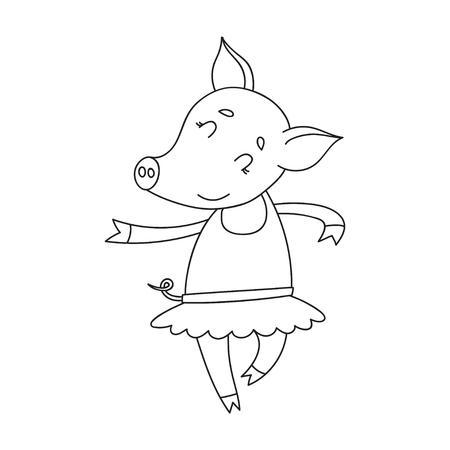 Vector cheerful pig ballerinae. Cartoon happy dancer pig.