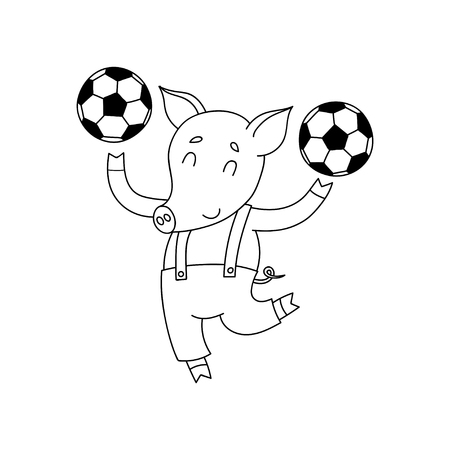 Vector cheerful pig with balls. Cartoon happy soccer player.