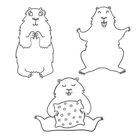 Cheerful cool cartoon groundhog. Groundhog Day.