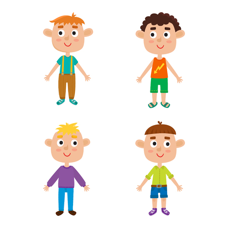 Cartoon boys isolated on white. Characters set of stylish kids. Illustration