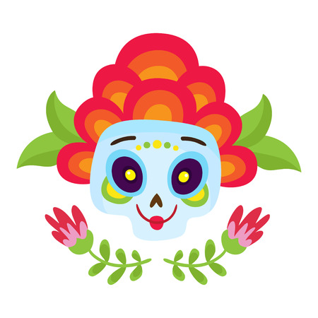 Vector illustration with colorful skulls for day of the dead Illustration