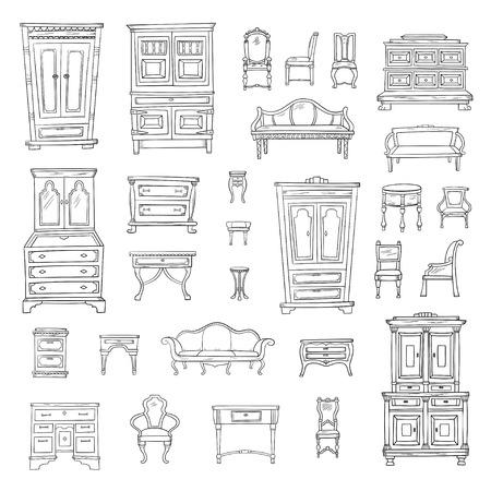 Antique furniture set: closet, nightstand, closet, chairs, nightstands and bureaus Stock Illustratie