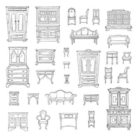 Antique furniture set: closet, nightstand, closet, chairs, nightstands and bureaus 向量圖像