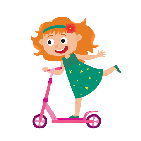 Cute vector concept illustration of little girl having fun outside