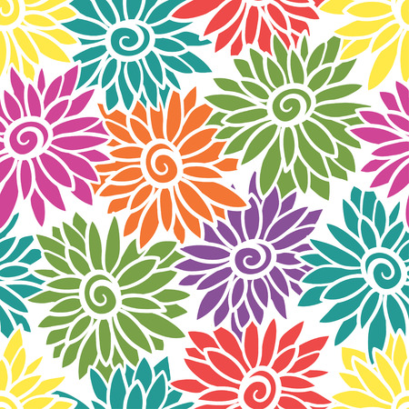 Blumenhintergrund mit stilisierter blühender Chrysantheme, Astern. Standard-Bild - 89719763