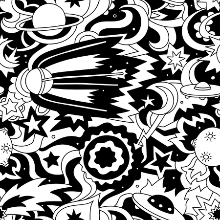 Crazy cartoon pattern with satellite, planets, stars.