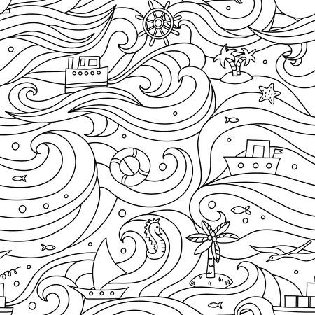 바다 요소와 미친 패턴입니다. 스톡 콘텐츠 - 92143619