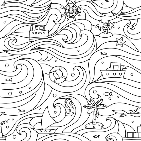 Crazy pattern with sea elements. Vectores