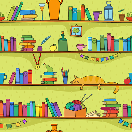 Books, cat and other things on shelves. Vector seamless pattern