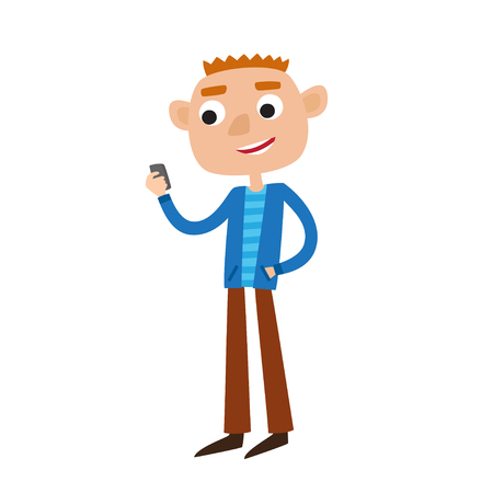 Color vector illustration of a man standing while holding smartphone