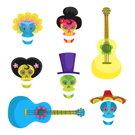 Set with colorful skulls for day of the dead. Sugar skulls for Mexican day of the dead or Halloween. Cute skulls and flowers in a cartoon style. Vectores
