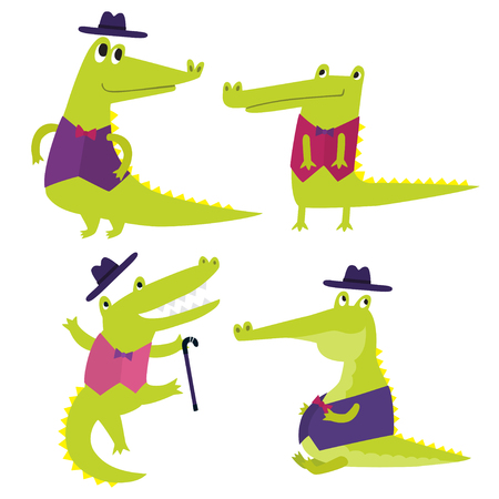 Vector set with happy fun crocodiles. Cartoon smiling alligators Illustration