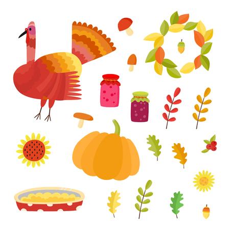 Vector Thanksgiving set. Collection with autumn signs -turkey, acorns, jams, mushrooms, pumpkin, apple pie, oak leafs.