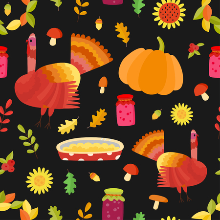 Vector Thanksgiving seamless pattern. Repeating autumn background. Illustration with turkey. 일러스트