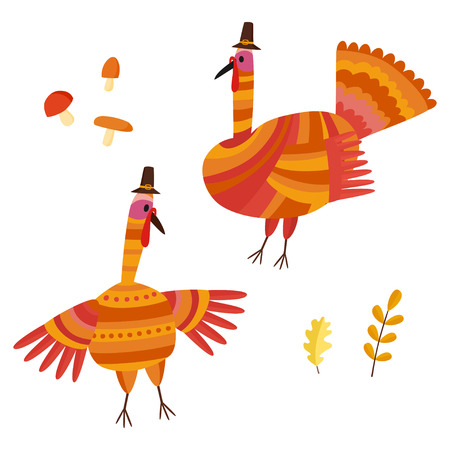 Vector Thanksgiving set. Collection with autumn signs - turkey, mushrooms, oak leafs. Illustration