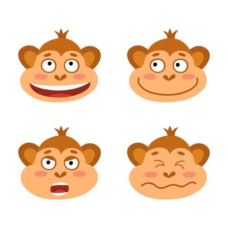 Vector set with monkey emotion faces. Cute little monkeys.