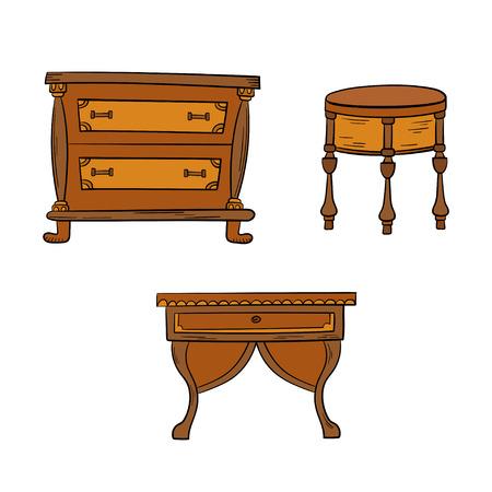 Furniture set - antique bureau, tables isolated on a white