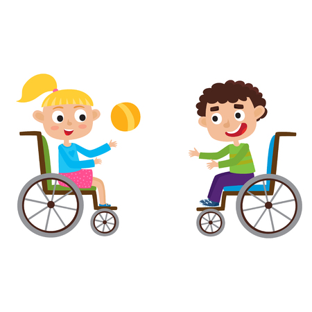 Vector illustration of smiling little boy and girl on wheelchair.