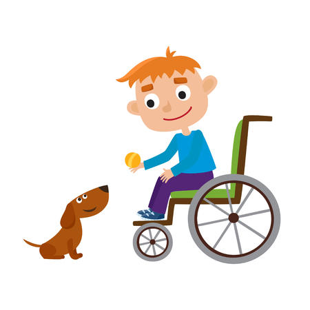 Vector illustration of smiling orange hair boy with ball on wheelchair. Vectores
