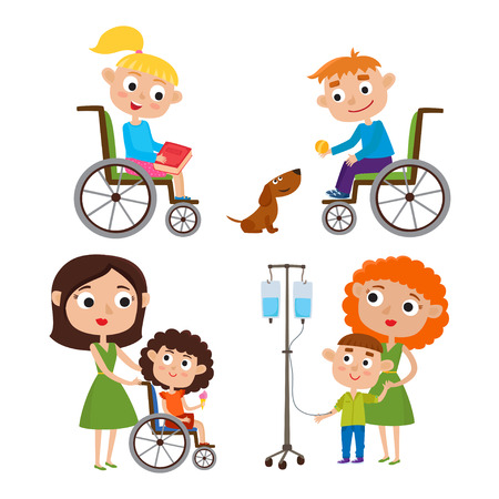 Vector cartoon set with kids - mother with her sick little kid
