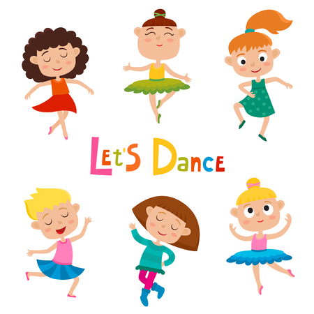 Vector cartoon illustration of little graceful girls-dancers isolated on white Banque d'images - 96251155