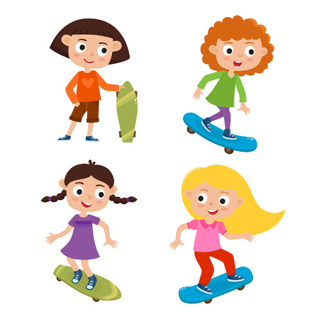 Summer activity skateboarding concept. Vector set of skateboarder girls