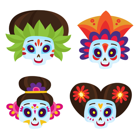 Set with colorful skulls for day of the dead vector. Illustration