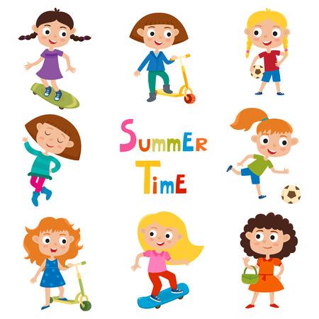 Vector set of summer childs outdoor activities isolated on whit Vektoros illusztráció