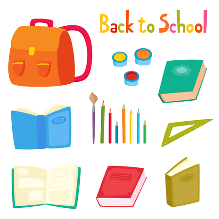 Back to school set with school supplies isolated on white. Vector illustration.