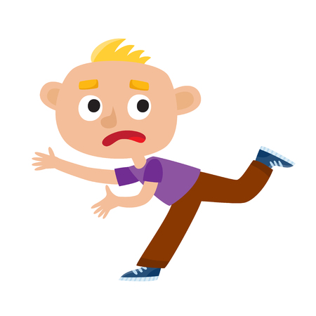 Color vector illustration of a boy running from fear. Sad kid isolated on white background. Vettoriali