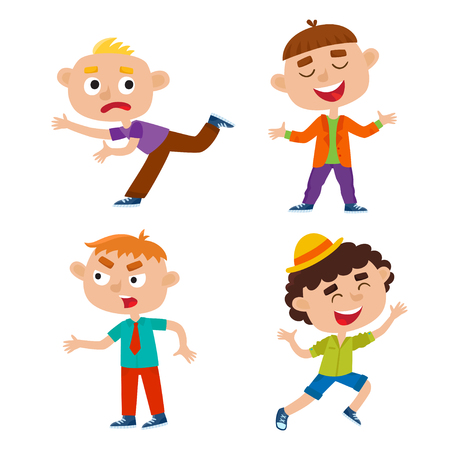 Color vector set of kids in various poses, isolated on white background.  イラスト・ベクター素材