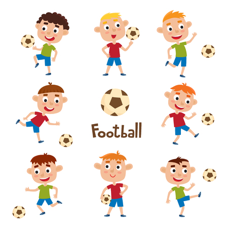 Vector illustration of little boys in shirt and short playing football. Set of cute cartoon kids kicking soccer ball, isolated on white background. Pretty football players. Collection of happy children.
