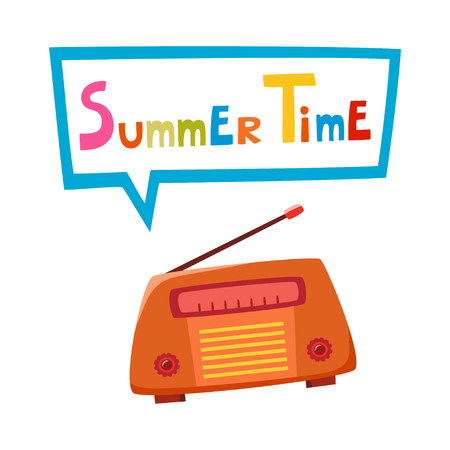 Vintage radio, isolated on white background with bubble chat. Vector illustration of retro cartoon radio. Old radio with text Summer Time used for invitation, poster.