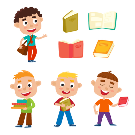 Color vector set pretty boys stand with books and bag. Happy kid