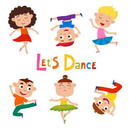 Vector cartoon illustration of little graceful dancer