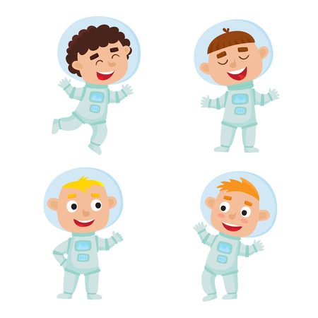 Set of astronaut kids isolated on white background.