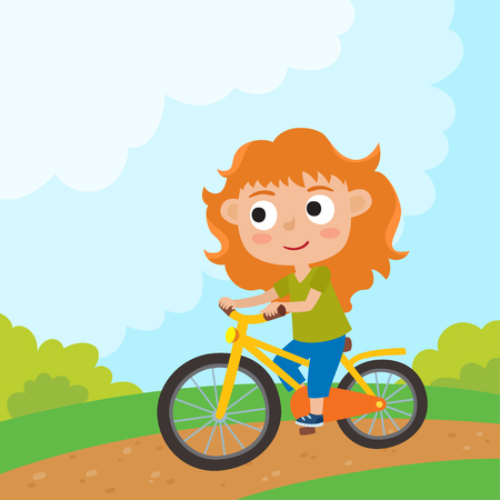 Cartoon girl riding a bike having fun riding bicycles in park. Illustration