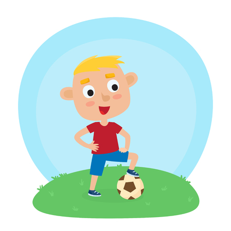 A Vector illustration of little boy in shirt and short playing