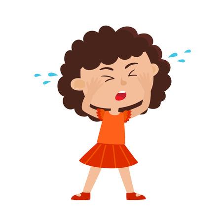 Kleur vector illustratie van huilend meisje geïsoleerd op een witte achtergrond.