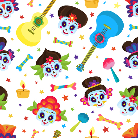 Seamless pattern with colorful skulls and stars for day of the dead or halloween. Sugar skulls for mexican day of the dead isolated on white. Cute skulls in a cartoon style. Illustration