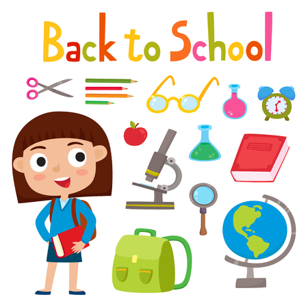 Back to school set with pretty stylish girl stand with book school Illustration