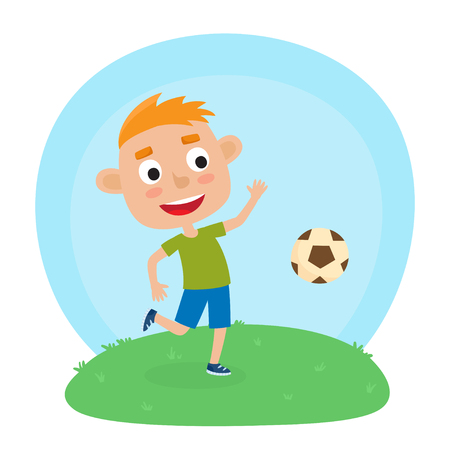 Vector illustration of little boy in shirt and short playing football