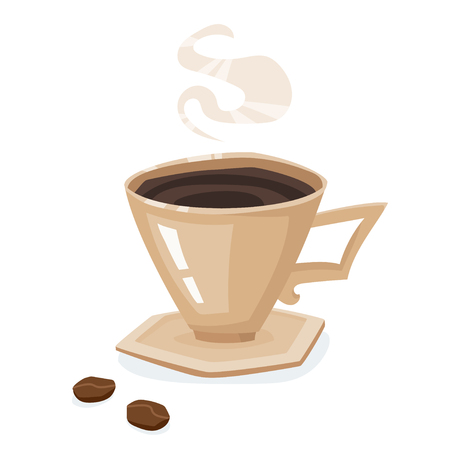 Coffee cup, saucer and beans isolated on a white background. Illustration